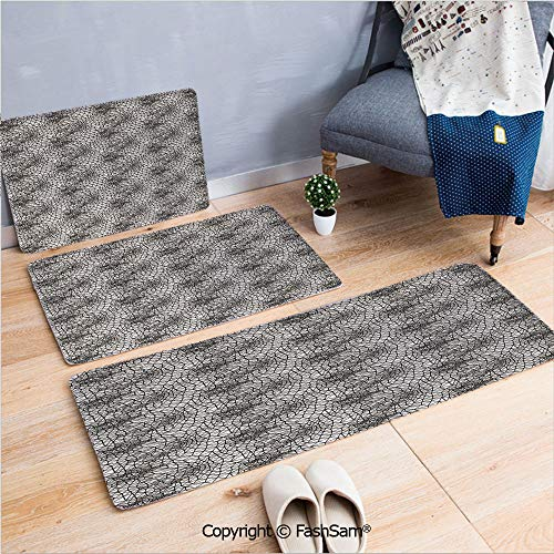 3 Piece Non Slip Flannel Door Mat Monochrome Triangle Pattern Polygonal Design Connected Stripes Ornate Line Art Decorative Indoor Carpet for bath Kitchen(W15.7xL23.6 by W19.6xL31.5 by - Ornate Cast Six Light