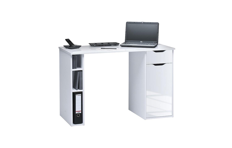 Maja et écriture Ordinateur de bureau bois brillant - dimensions 115 x 50 x 75 cm - blanc