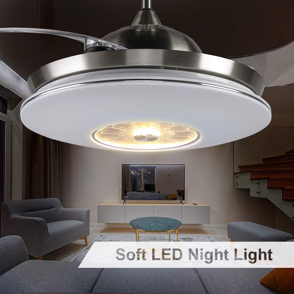 Bianco H/&Fun 112CM Ventilatore da Soffitto con Luci a LED Dimmerabili Motore Silenzioso per Soggiorno//Ristorante//Camera da Letto Telecomando