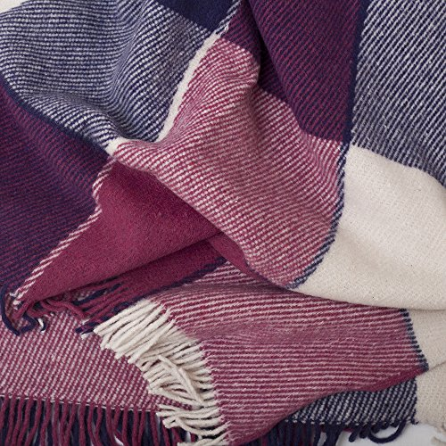 """Luxury Wool Blanket 79""""x87"""" by CG Home – Super Warm and Soft Blanket for Cozy Fall and Winter Days – Purple Tartan Plaid Throw Blanket Accents Any Home Décor (Full)"""