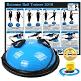 RitFit New Balance Ball Trainer with Resistance Bands (Free Exercise Wall Chart & DVD, Air Pump, Resistance Bands and More) (Blue)
