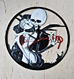 Fantasy Film Characters Design HANDPAINTED Vinyl Record Wall Clock - Get Unique Kids Room or Living Room Wall Decor - Gift Ideas For Youth and Teens - Heroes of Horror Silhouette Unique Fan Art