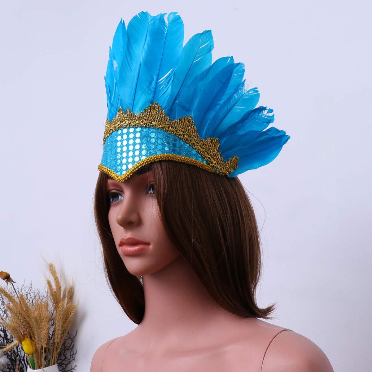 Amosfun nativi Indiani Bohemien Piuma Copricapo Puntelli di Carnevale Halloween nativi Americani Cosplay Fasce per Capelli Indiani