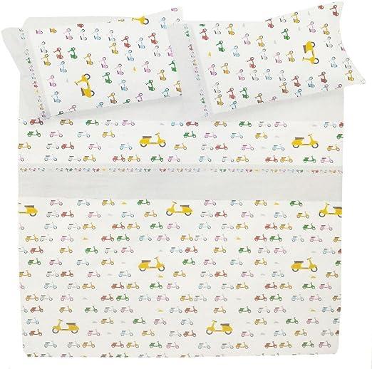 Juego de sábanas para cama individual de 1 plaza, 100 % algodón + sábana encimera + 1 funda de almohada. Singolo Scooter - Bianco: Amazon.es: Hogar