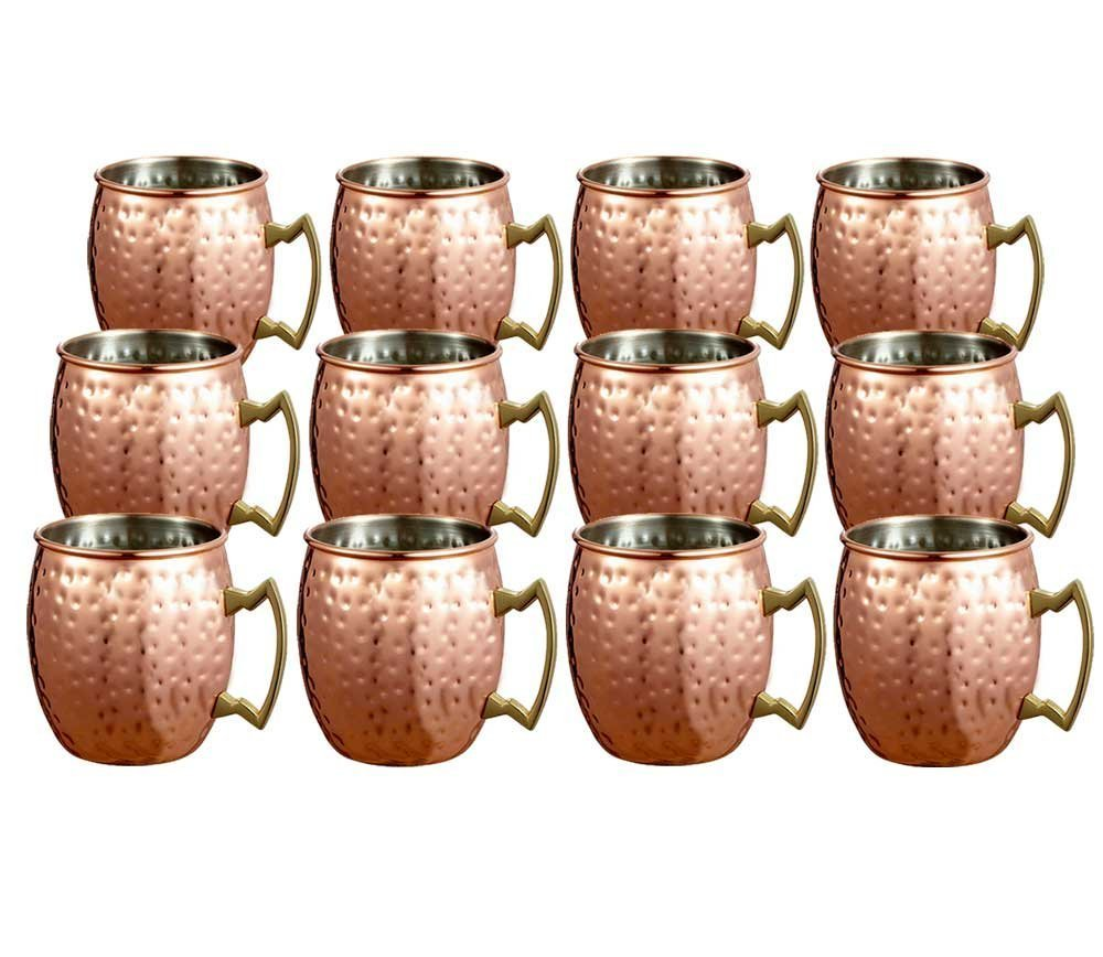 Panchal Creation Set of 12 Copper Handmade Moscow Mule Mugs Barware Drinkware Utensil Hammered Finish With Brass Handle