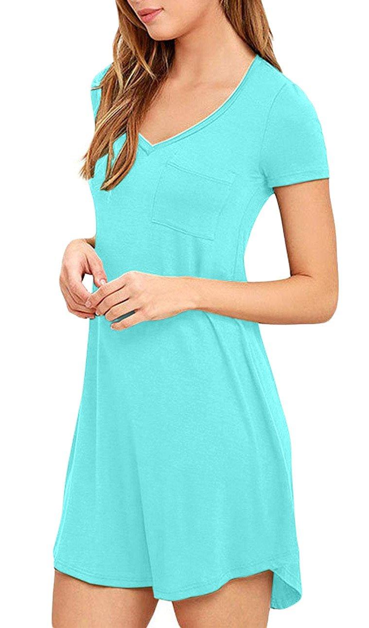 Eanklosco Women\'s Casual Dress V Neck Short Sleeve T Shirt Dress with Pockets (M/UK 10, Nile Blue-Short Sleeve)