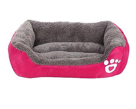 ZiXing Lavable Lindo Cuadrado Suave Calentar Mascotas Pet Perros Casa Choza Cachorro Gato Cama Doggy Doghouse Cojín Basket Rojo L