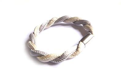 6f99a716893e7 Silk N ° 2 ♥ feines soie Bracelet avec fermeture aimantée, couleur : sable