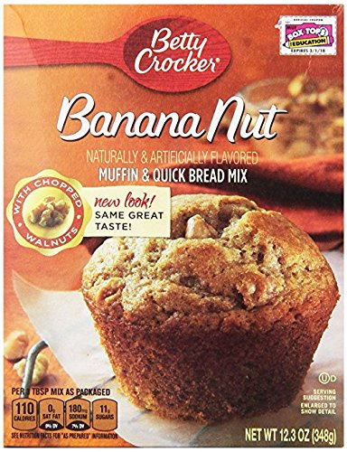 Betty Crocker Muffin & Quick Bread Mix, Banana Nut, 12.3 oz Box (2 Pack) ()