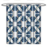 CHASOEA Traditional House Decorhookless Shower curtainPortuguese Pavement Azulejo Mosaic with Diagonal Square and ShapesColor Shower curtainBlue White