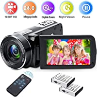 weton Digital Camcorder with IR Night Vision, Weton 1080P Full HD Digital Video Camera 24.0Mega Pixels 18X Digital Zoom Video Camera (Two Batteries included)