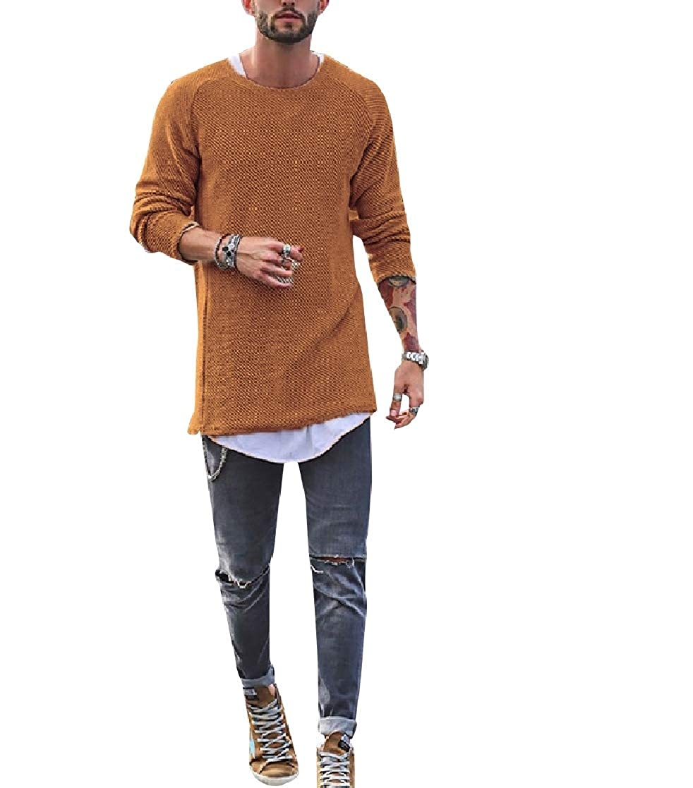 YUNY Mens Pullover Crewneck Solid-Colored Oversize Pullover Sweater Brown XS