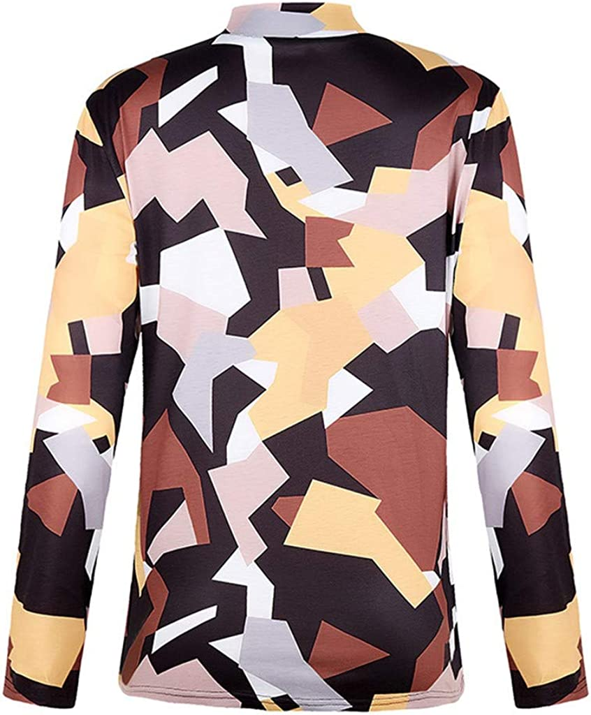 Eoeth Blouse Tops for Women Fashion Color Block Splice Pullover Casual Long Sleeve High Neck Shirt Printed T-Shirt Tee