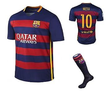 Barcelona Home Messi # 10 de fútbol Kids Jersey con pantalones cortos y juego de calcetines
