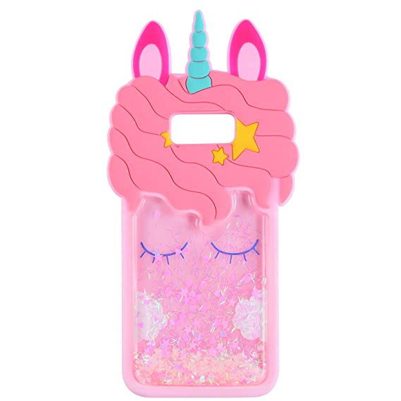 best service 58fd7 766ae Quicksand Unicorn Case for Samsung Galaxy S8 Plus,Soft Cute Silicone 3D  Cartoon Animal Cover, Mulafnxal Shockproof Cases,Kids Girls Bling Glitter  ...