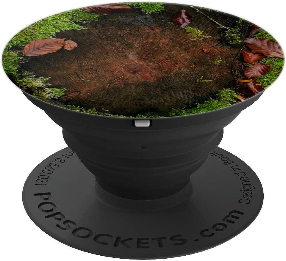 Wood Pop Socket Nature Theme with Green Moss & Fallen Leaves PopSockets Grip and Stand for Phones and Tablets
