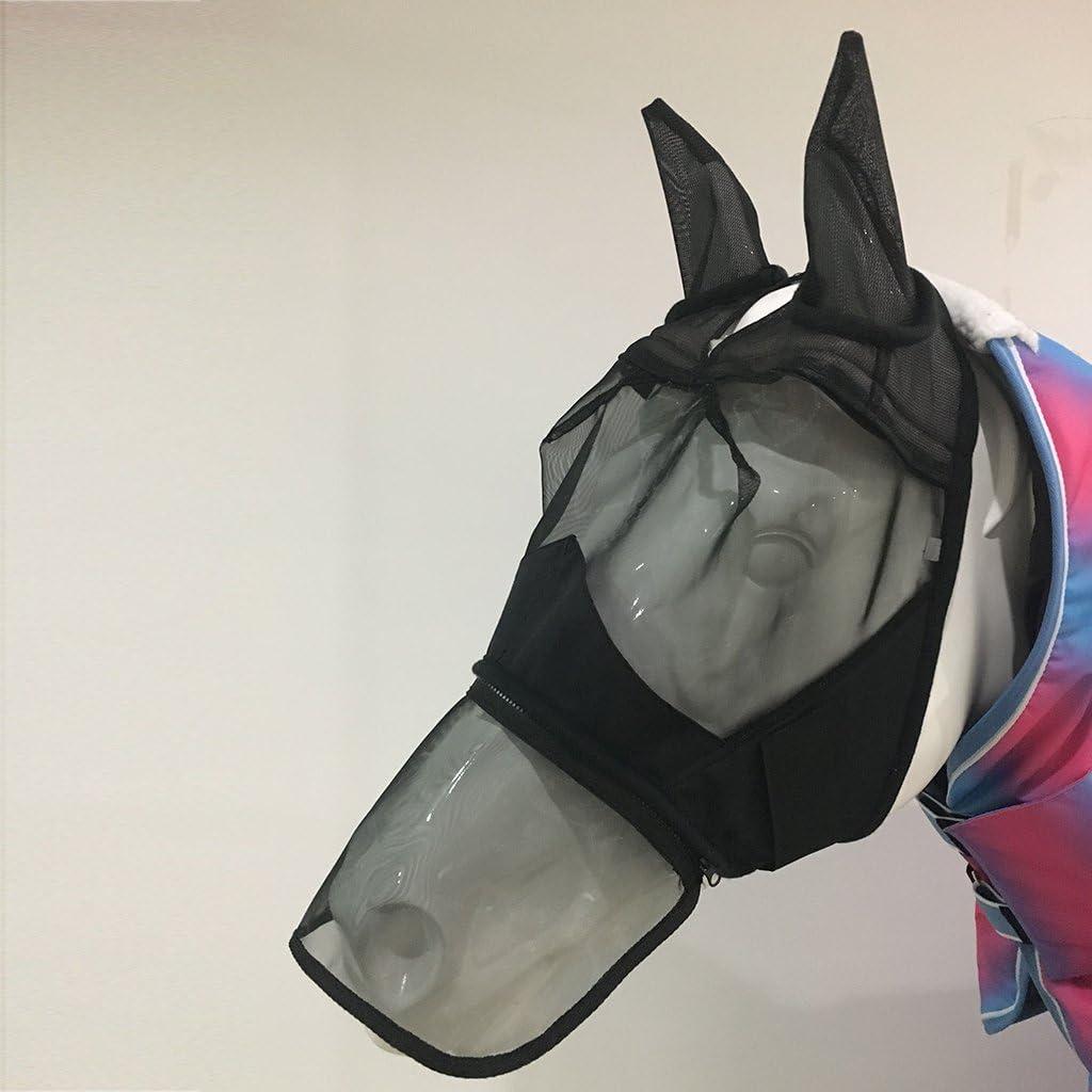 Horse Mesh Net Fly Mask Bonnet Veils W//Ear Nose