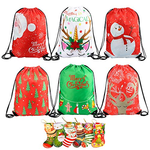 6 Pack Large Size Christmas Drawstring Gift Bags, Christmas Santa Design Backpack for Christmas Party Favors Candy Gift Bags Gift Wrappers Bags