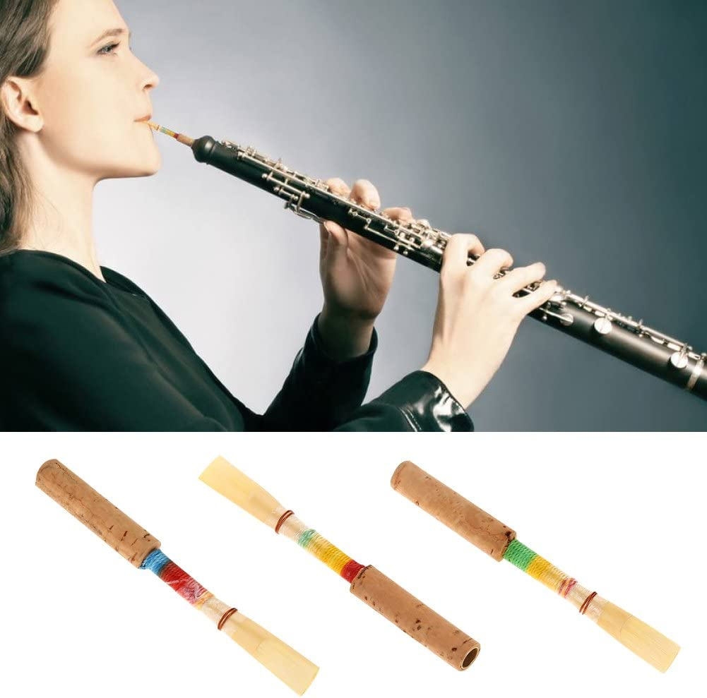 4Pcs 2.8 inches Oboe Reed Medium Soft Cork Reed Wind Instrument Replacement Parts with Plastic Storage Box
