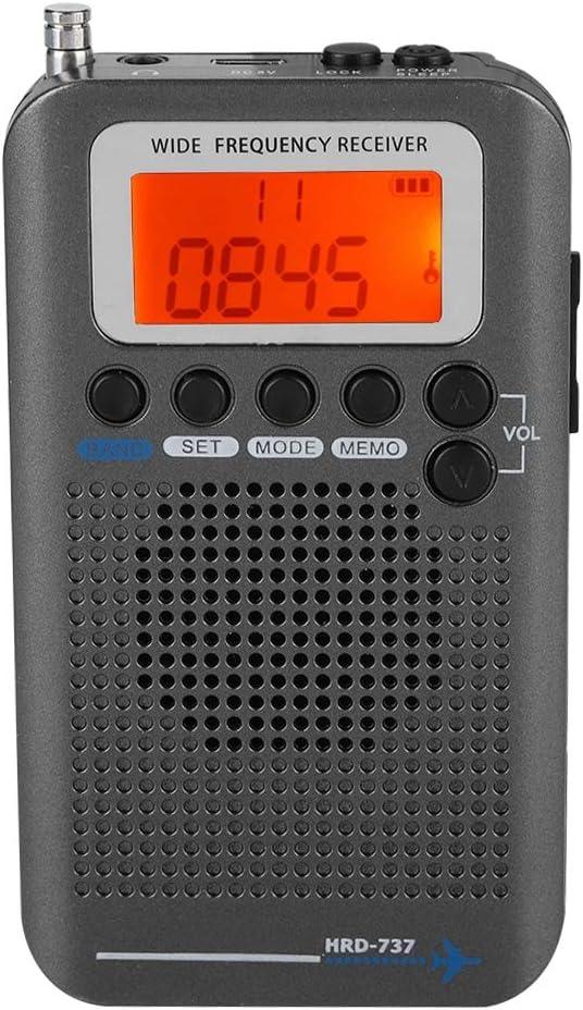 garsent Radio portátil, Banda de avión Receptor de Radio VHF Portátil Banda de Radio Completa Grabadora de Bolsillo Transistor de Viaje Radio Estéreo Receptor.(Negro)