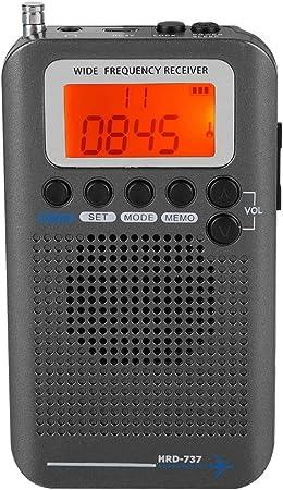 Radio de Función Múltiple, Radio Portátil de Multifunciones con Bandas Completas, Receptor Radio de Banda de Aviación con Pantalla LCD, Radio de ...