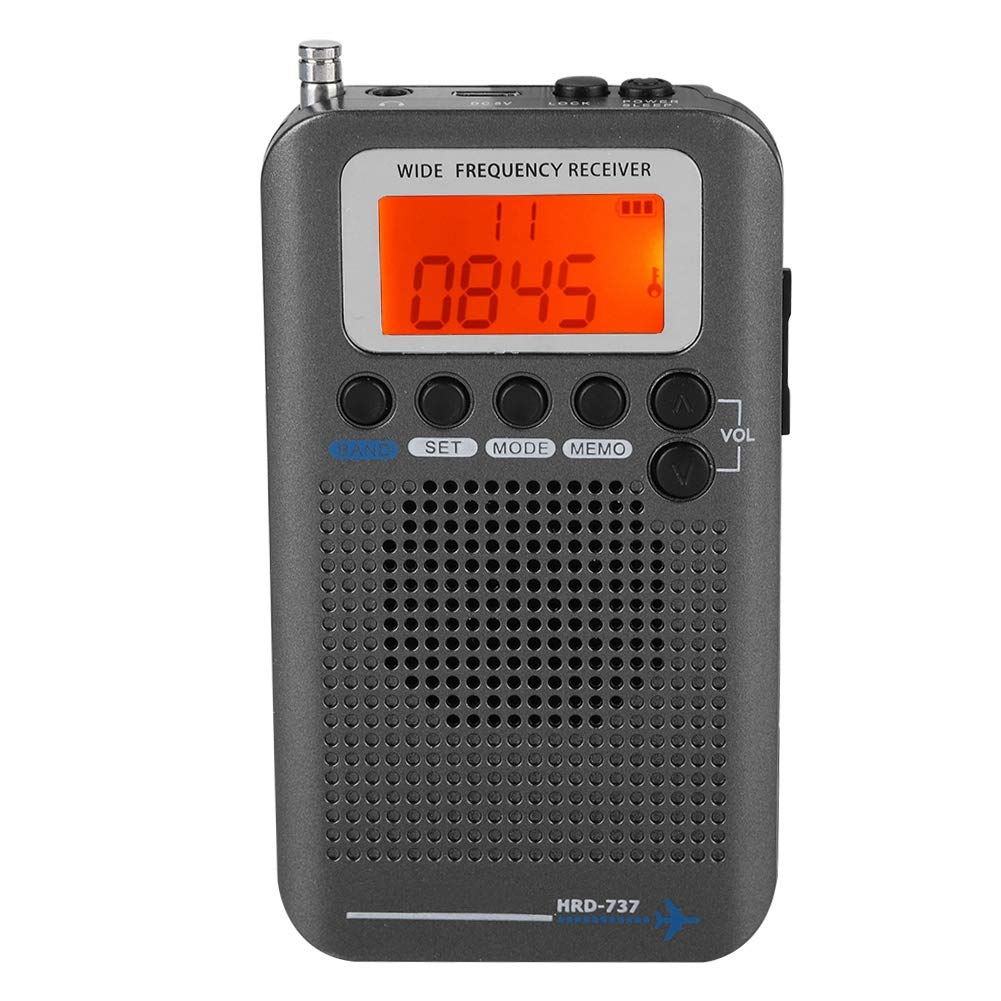 Air Band Radio Receiver AIR FM AM CB SW VHF Full Band Hand-held Aircraft Digital Travel Radio with Extended Antenna Build in Battery Wide Frequency LCD Display with Alarm, Earphones (Black)