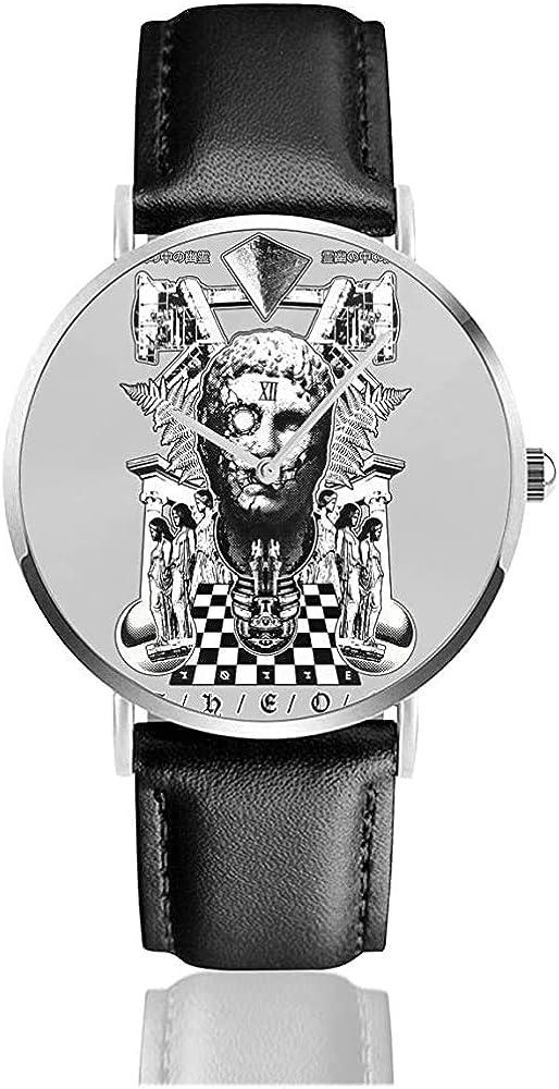Theos Greek Statue Collage Relojes Reloj de Cuero de Cuarzo con Correa de Cuero Negra para Regalo de colección