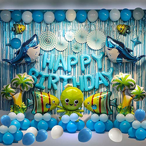 Birthday Party Backdrop Decorations Marine Animals Ocean Animals Themed Balloon Birthday Party Supplies Fish Balloon Sea Animals Themed Backdrop Decorations For Birthday Party, More Than 80 Pcs For Your Ocean Themed Birthday Party.