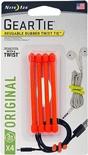 "product image for Nite Ize GT3-4PK-31 Original Gear Rubber Twist Tie, 3"" - 4-Pack, Bright Orange, 4"