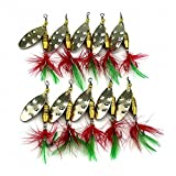 Maoko 10Pcs/lot SpinnerBait Metal Fishing Lures Spoons- Artificial Hard Spinner Lure for Bass & Walleye 18 Colors