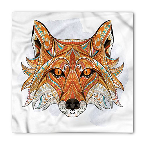 Ambesonne Unisex Bandana, Tribal Geometric Fox Portrait, Orange Amber
