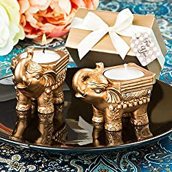 Gold Good Luck Indian Elephant Candle Holder Favors, 24