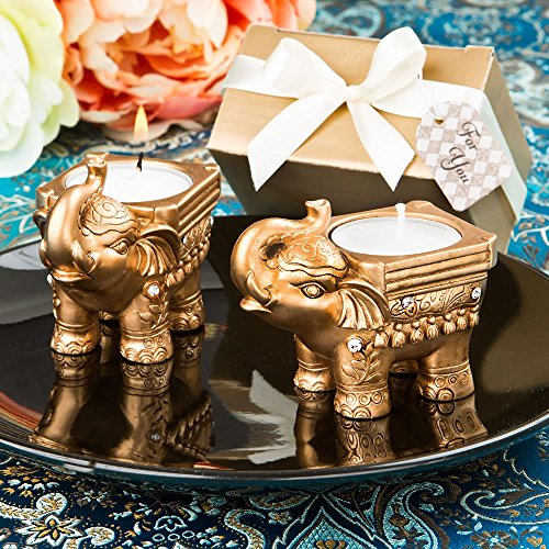 Gold Good Luck Indian Elephant Candle Holder Favors, 72 ()