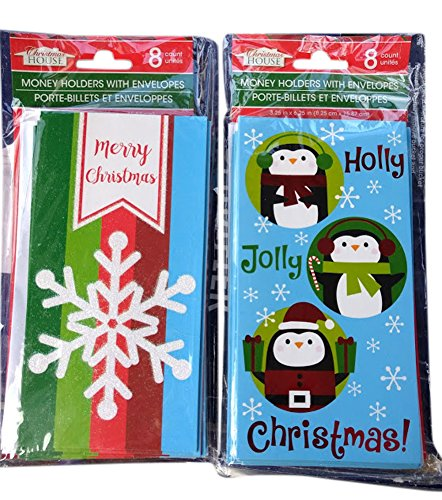 Snowflake and Penguins Holiday House Money Holder Greeting Cards With Envelopes 16 Count, 2 Packs of 8, - Gift The Greene Cards
