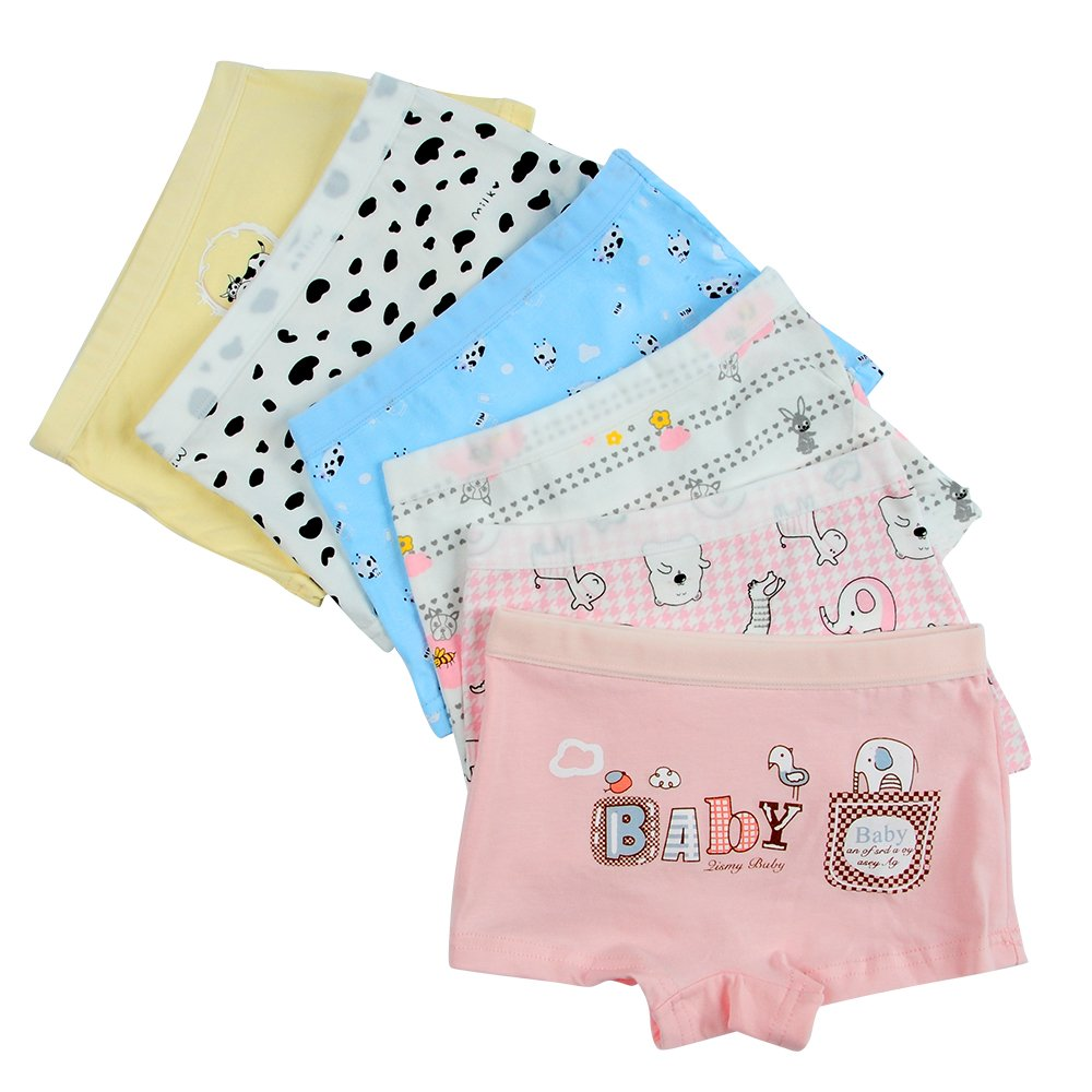 Closecret Kids Series Baby Underwear Little Girls' Cotton Boyshorts Panties (Pack of 6) (Style 1, 3-4 Years)