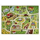 INCX Kids Carpet Playmat Rug for Toy Cars Large Car Rug Carpet with Non-Slip Backing Kids Educational Rug with Roads and Cars,Safe and Fun Play Rug for Bedroom Playroom(52' x59')