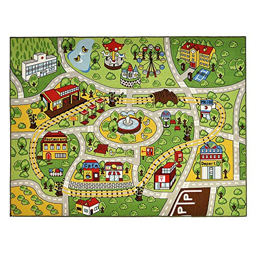 INCX Kids Carpet Playmat Rug for Toy Cars Large Car Rug Carpet with Non-Slip Backing Kids Educational Rug with Roads and Cars,Safe and Fun Play Rug for Bedroom Playroom(52