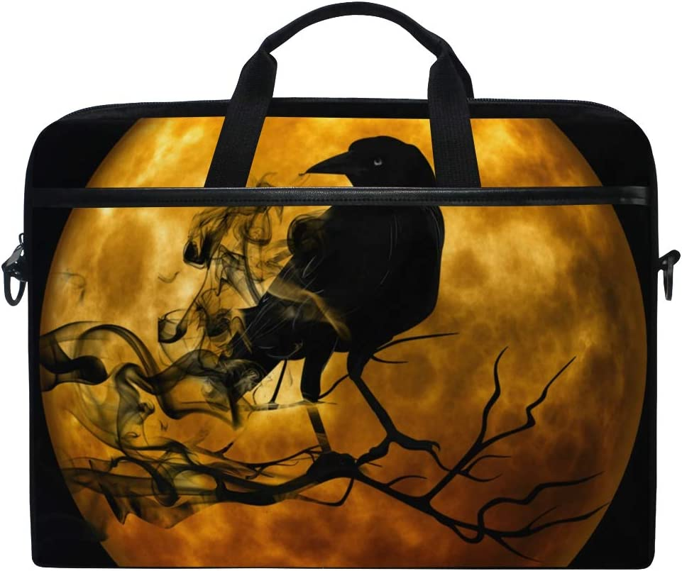 ALAZA Raven Crow Moon Night 15 inch Laptop Case Shoulder Bag Crossbody Briefcase for Women Men Girls Boys with Shoulder Strap Handle, Back to School Gifts