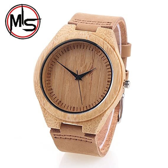 Bamboo Watch outdoor for men/ woman with Leather Strap Bamboo Wooden Wristwatch gift Mothers/