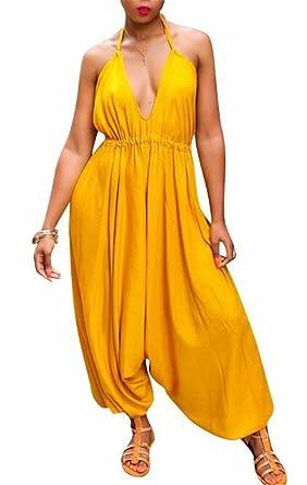 282a900b843 Amazon.com  JINTING Spaghetti Strap Harem Jumpsuit Women Halter V Neck  Spaghetti Strap Wide Leg Long Pant Jumpsuits Romper  Clothing