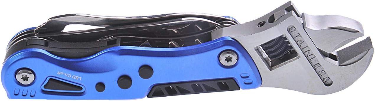 10 Funciones Color: Azul Huntington Multiherramienta//Herramienta multifunci/ón Llave con Boca Ajustable /& Navaja Mod MS004-02