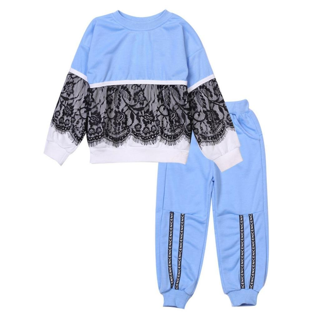 Ankola Autumn Winter Pullover Set 2Pcs Toddler Baby Kids Girls Lace Stitching Tops Pullover Pants Sport Outfits Clothes Set (24M, Blue)
