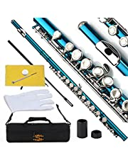 Glory Closed Hole C Flute With Case, Tuning Rod and Cloth,Joint Grease and Gloves,Sea Blue-More Colors available,Click to see more colors