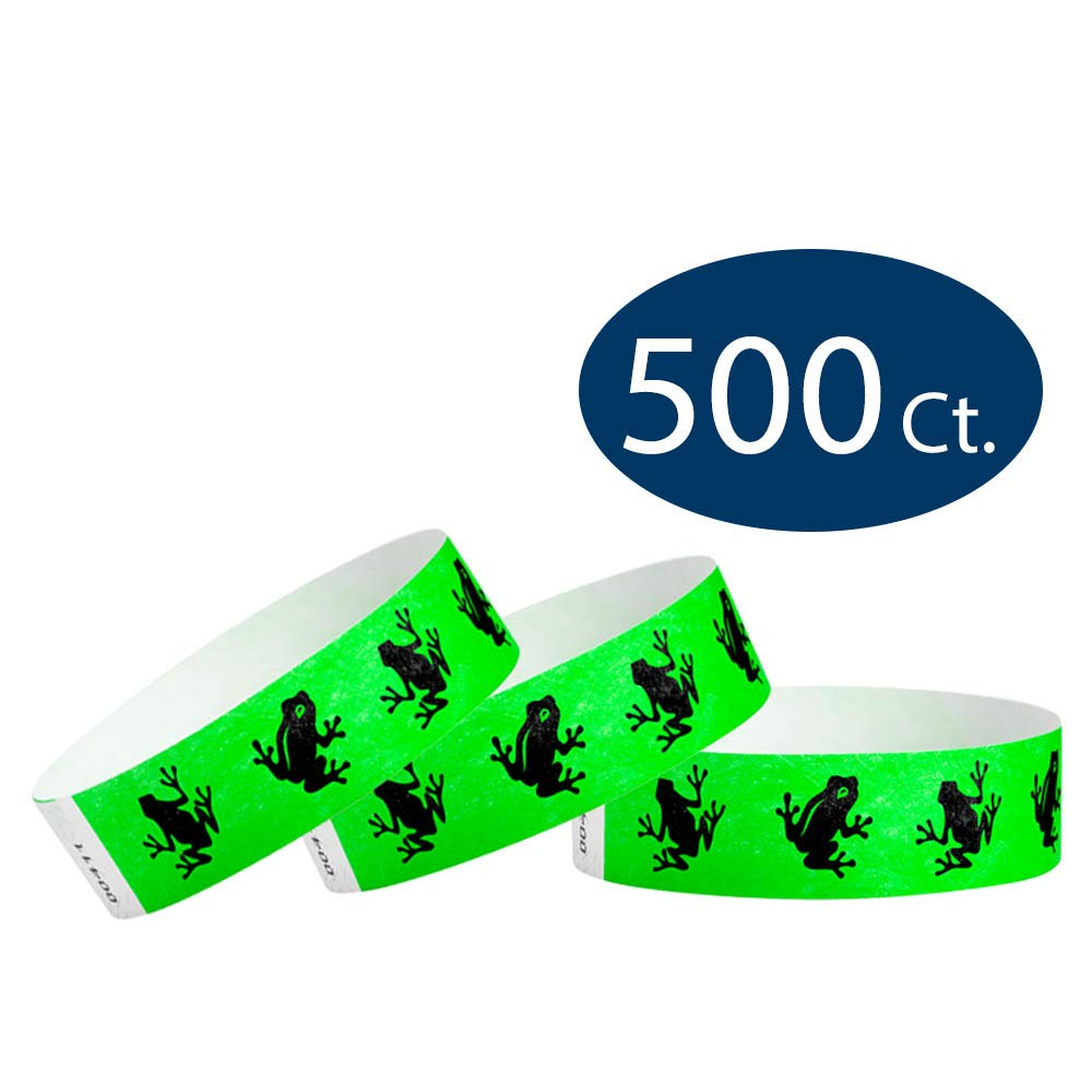 WristCo Green Frogs 3/4'' Tyvek Wristbands - 500 Pack Paper Wristbands For Events