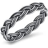 CloseoutWarehouse Oxidized Sterling Silver Braided Eternity Ring