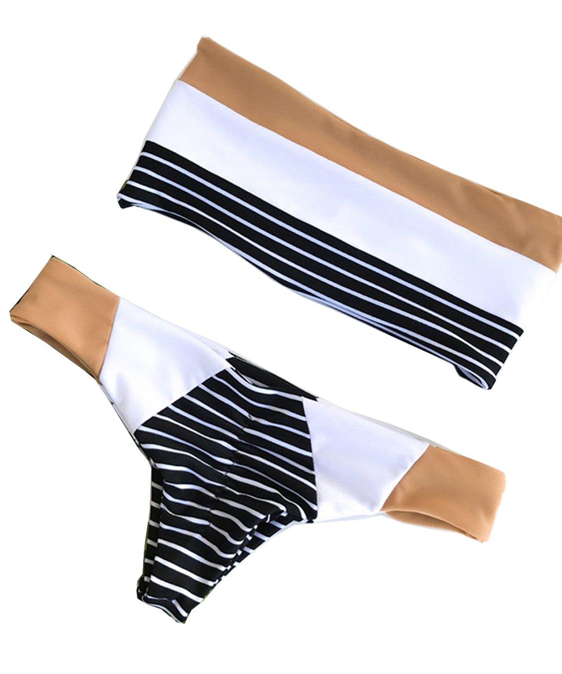 Women's Bikini Swimsuits Strapless Two Pieces Bathing Suits Print Bandeau Swimwear Thong Bikinis Set (S)