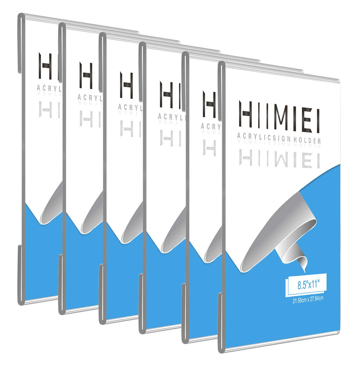 HIIMIEI 8.5x11 Acrylic Wall Sign Holder with 3M Tape, 8 1/2 x 11 Clear Plastic plexiglass Sign Holder for for Office, Home, Store, Restaurant-No Drilling(6 Pack)