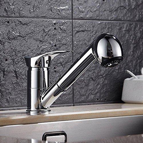 CZOOR Moderne Küchenarmatur kalt und heiß Waschbecken Wasserhahn silber poliert Wasserhahn Bad Hardware-Set, A
