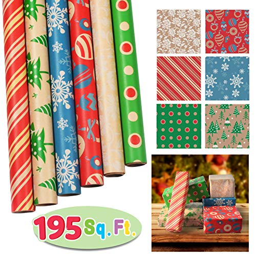 "(6 Rolls Kraft Wrapping Paper Set (30"" X 156"") for Holiday Xmas Gift Wrap, Christmas Gift Wrapping Decoration, School Classrooms, Party Favors, Xmas Present Décor.)"