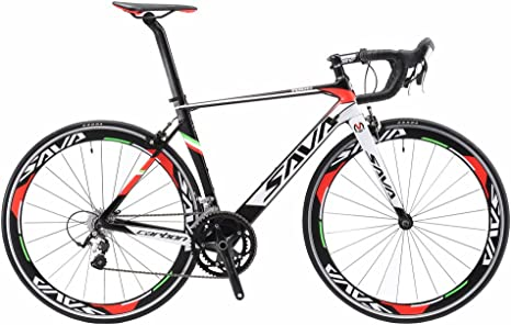 SAVA Bicicleta de Carretera de Fibra de Carbono 700C SHIMANO 5800 22-Velocidad Sistema Bicicleta Urbana Carbono (Negro Blanco Rojo): Amazon.es: Deportes y aire libre